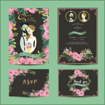 wedding card templates red roses groom bride decoration