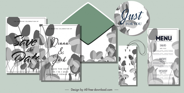wedding card templates retro leaves sketch blurred decor