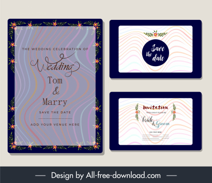 wedding card templates sparkling dynamic curved lines decor