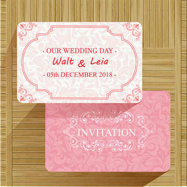 wedding card vector illustration with classical pink background