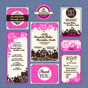 wedding card vector template