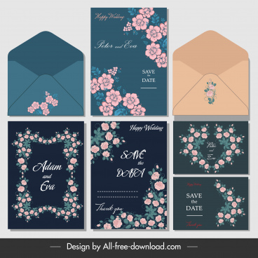 wedding cards envelopes templates elegant classical flowers decor