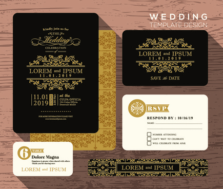 Wedding card design template free vector download 23465 free wedding cards template ornate vector reheart Choice Image