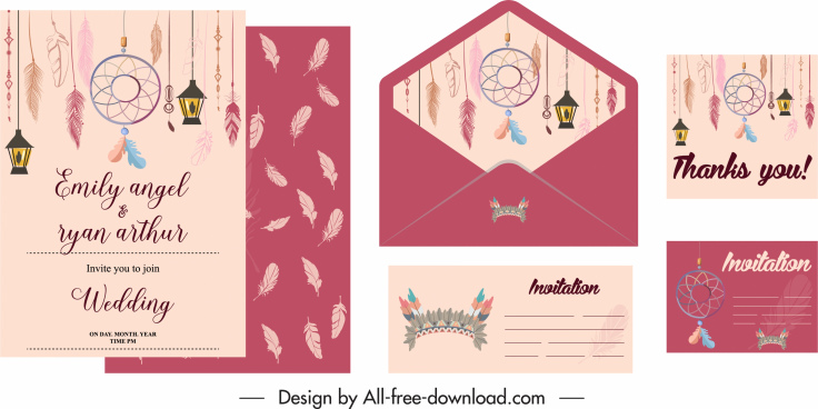 wedding cards template traditional dream catcher decor