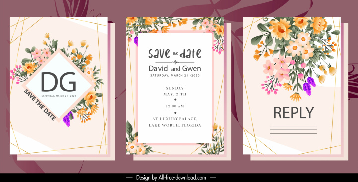 wedding cards templates elegant colorful classic flowers decor