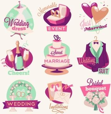 Wedding Celebrations Logos Vector Graphics