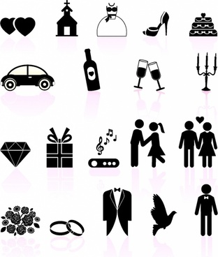 Wedding day black and white set icons