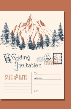 wedding envelop template mountain landscape icon classical design