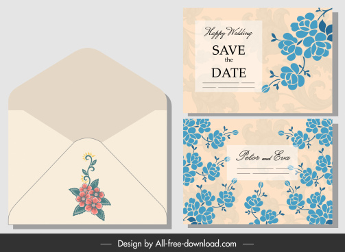 wedding envelope template classical flora decor
