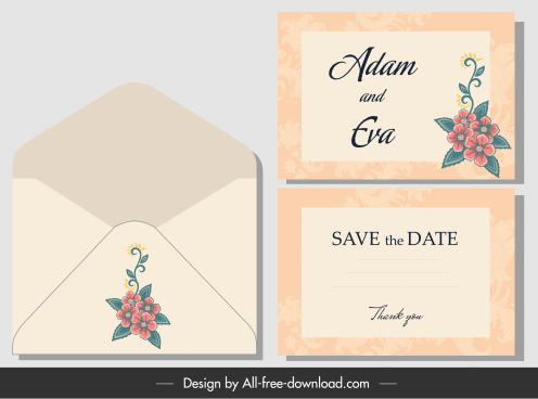 wedding envelope template classical handdrawn decor