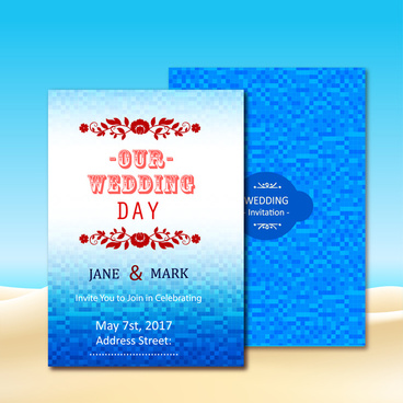 wedding invitation card design with blue bokeh background