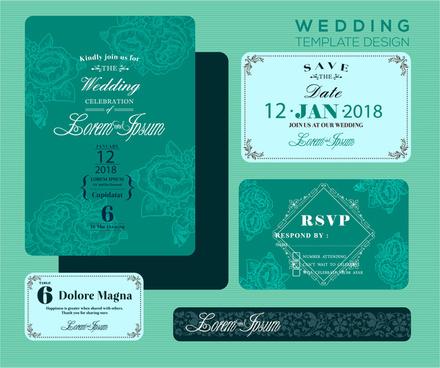 wedding invitation card design with green bokeh