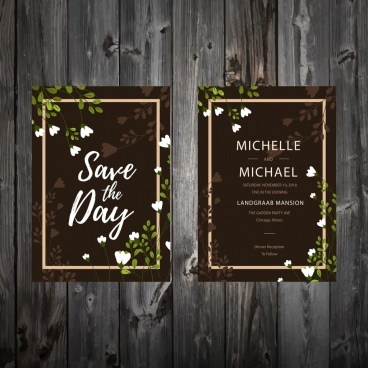 wedding invitation card template classical dark flowers decor