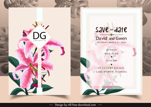 wedding invitation card template elegant lily petals decor