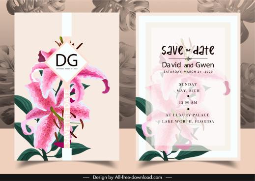 wedding invitation card template elegant lily petals decor