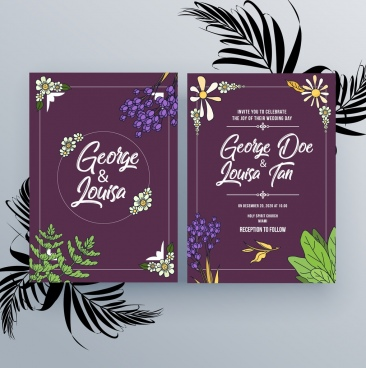wedding invitation card template violet design natural decoration