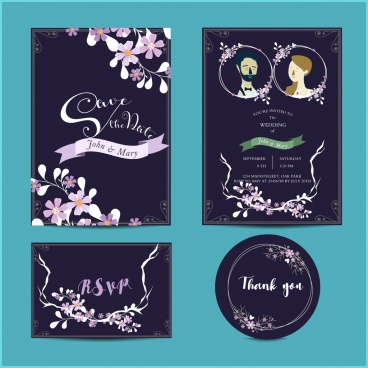 wedding invitation card templates dark classical decor