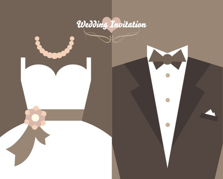 wedding invitation card with dress vector