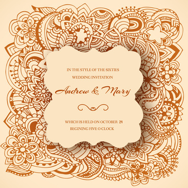 Wedding Invitation Template Floral Free Vector Download 24543