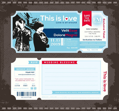 wedding invitation ticket template vector