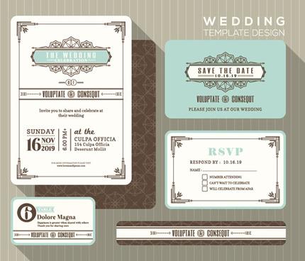 wedding invitation vintage cards vector