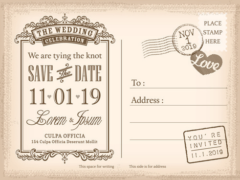 Birthday Invite Postcard Template Free Vector Download Free - Save the date holiday party templates free