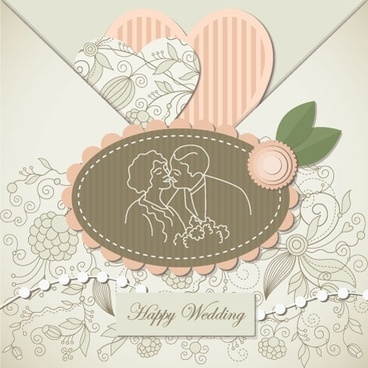 wedding label background 02 vector