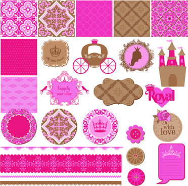 wedding labels with seamless pattern vector