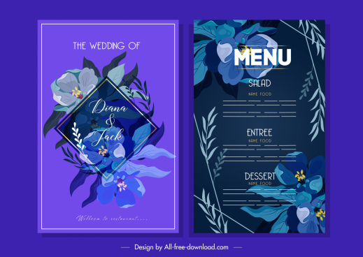 wedding menu template elegant classic floral dark violet