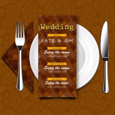 wedding menu vector design with retro style