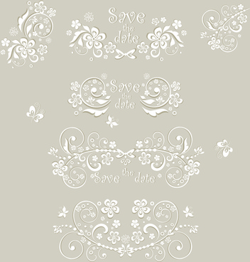 wedding ornament elements vector