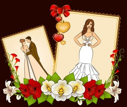 wedding postcards 05 vector