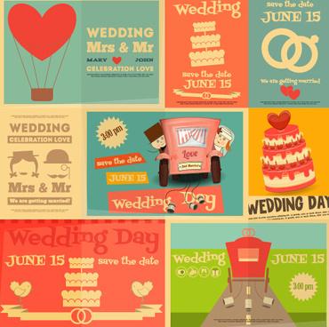 wedding retro cards vectors