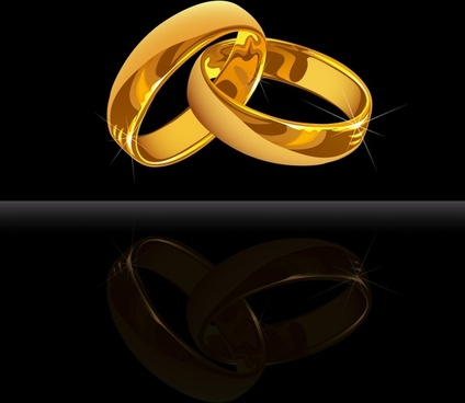 wedding rings background shiny golden 3d contrast design