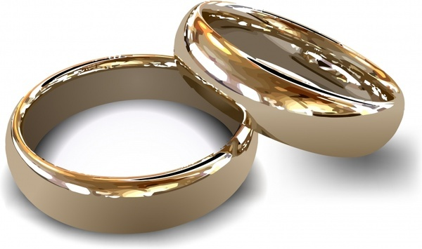 wedding rings couple icon shiny modern realistic 3d