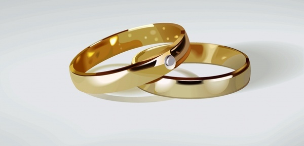 wedding rings icon modern 3d golden design