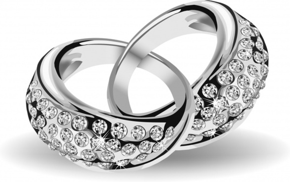 wedding rings icon elegant silver decor 3d sketch
