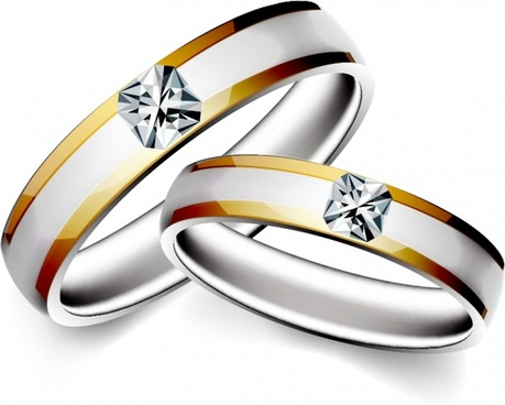 wedding rings icons shiny diamond decor 3d sketch