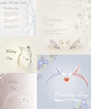 wedding background templates bright design bird flower icons