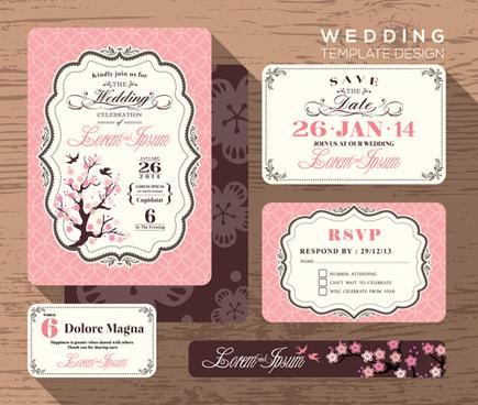 wedding template design elements kit vector