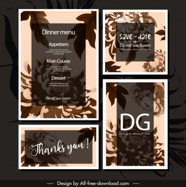 wedding template flowers sketch classic dark brown design