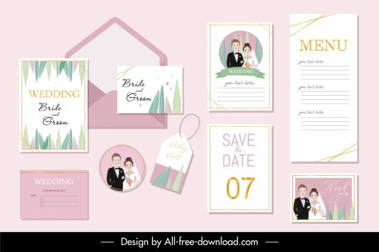 wedding templates bride groom decor colorful classic romance