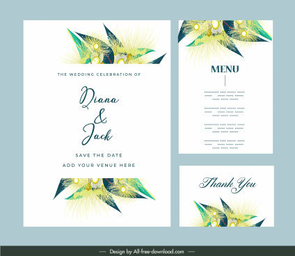 wedding templates classic colorful floral leaves decor