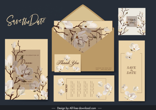 wedding templates classic elegant blooming flora decor