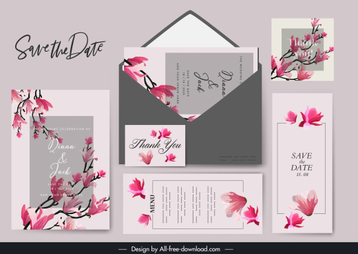 wedding templates classical cherry blossom decor