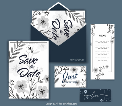 wedding templates classical elegant flowers leaves decor