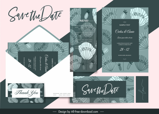 wedding templates classical flat floral sketch
