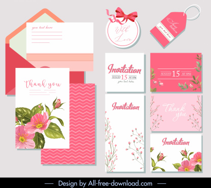 wedding templates cute pink white floral decor
