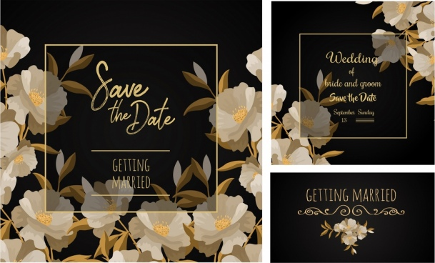 wedding templates elegant black design flowers decoration