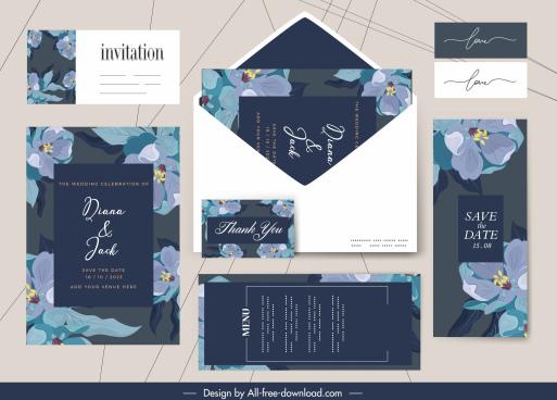 wedding templates elegant classic dark decor flora sketch